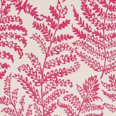 Wild Fern - Raspberry fabric, from the Wild Garden collection by Clarke and Clarke