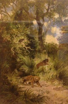 Flora y Fauna del periodo Cuaternario Plio-Pleistoceno, s/f Óleo sobre cartón.