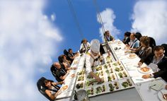 """Looking for a #dinner #date with a difference?  Discover """"Dinner in the #Sky"""" with 22 #brave diners #suspended #50m into the #air to enjoy their #meal from a very different perspective, served by a team of #professionals."""