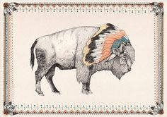 White Bison Print by Sandra Dieckmann - contemporary - artwork - Etsy