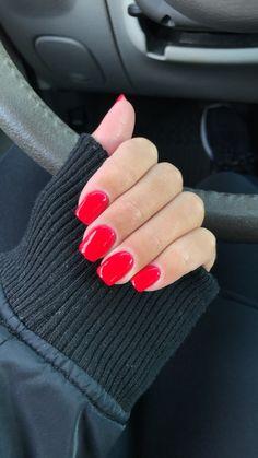 Bright red bright red nails, dip powder, beauty makeup, beauty tips, beauty Red Shellac Nails, Sns Nails Colors, Pink Nails, Nail Polish, Acrylic Nails, Nail Manicure, Cute Nails, Pretty Nails, Beauty