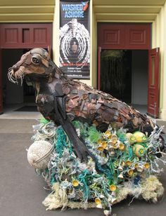 Washed Ashore, Ocean Pollution Art Sculptures. To see more art and information about Angela Haseltine Pozzi click the image.