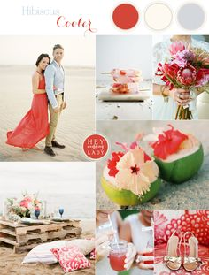 Chic and Relaxed Tropical Hibiscus Wedding Inspiration in Vibrant Pink, Blue, and Sand Hues | See More! http://heyweddinglady.com/chic-and-relaxed-tropical-hibiscus-wedding-inspiration/