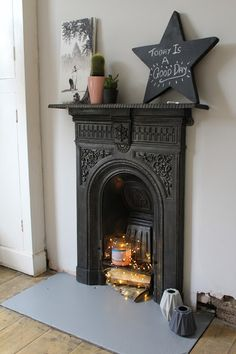 Victorian Fireplace with Fairy lights | www.kezzabeth.co.uk