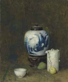 """""""Still Life with Blue Vase,"""" Emil Carlsen, oil on canvas, 23 x 19"""", private collection."""