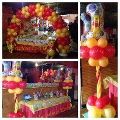Winnie the pooh 1st birthday party balloon decoration