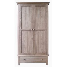 Lacar Solid Oak 1 Drawer Wardrobe  www.easyfurn.co.uk Solid Oak Furniture, Oak Panels, Drawer Fronts, Simple Lines, Tall Cabinet Storage, Drawers, Projects, Home Decor, Log Projects