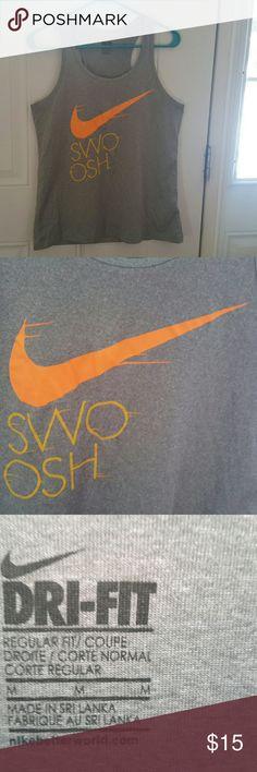 "Nike tank dri fit ""swoosh""   NWOT Grey and orange size m Nike Tops"