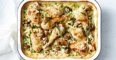 For an easy one-pan dinner, try this creamy chicken, mushroom and risoni bake.
