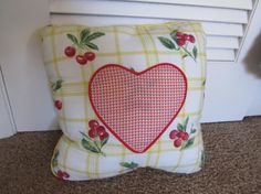 14 Square Inch Pillow Handmade Cotton Cover Red by SusanDeanne