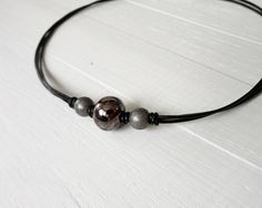Leather choker black cords necklace brown ceramic bead by tline, $33.00