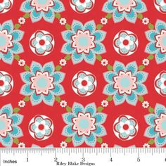 Sugar and Spice Fabric Red Floral with Aqua by 44thStreetFabric, $4.50  New palette?