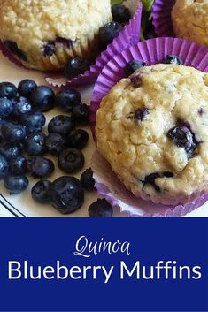 Quinoa Blueberry Muffins Thumbs down. Maybe with straight white… Used my mix plus sorghum, S, but had to double the liquid to make the texture even remotely scoopable & not dry Quinoa Blueberry Muffins–an easy recipe for making quinoa muffins from scr Blueberry Quinoa Muffins, Blue Berry Muffins, Protein Muffins, Healthy Muffins, Healthy Snacks, Eating Healthy, Healthy Recipes, Protein Cake, Protein Cookies