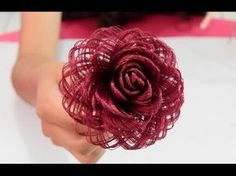 Como hacer una rosa de tela // Dia de las madres // Fabric Flowers Roses- Loveluzlop Candy Cane Wreath Tutorial by Trendy Tree using a Pencil Candy Cane Work Form, Snowball Mesh, ribbons and RAZ Sprays. Written tutorial and supplies at http:/… Twine Flowers, Paper Flowers Diy, Satin Flowers, Handmade Flowers, Ribbon Art, Fabric Ribbon, Ribbon Crafts, Flower Crafts, Burlap Fabric