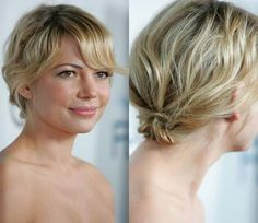 Even if your hair is short, if you have enough length to secure it at the nape of your neck a ponytail is still a great look and the rougher the better. Copy Michelle Williams' sweet look by working styling gel through damp hair for hold. Rough drying the hair for waves before smoothing down a sweeping fringe to frame your face. Picture perfect.Blonde hair colour inspiration Celebrity beauty secrets Celebrity hair