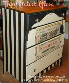 Black and White Striped French Dresser @ Thee Velvet Glove
