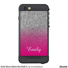 Girly Silver Glitter Hot Pink Personalized LifeProof® NÜÜD® iPhone 6s Plus Case