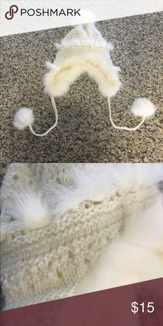 49ea7b6b White Faux Fur Winter Hat with Pom Poms I bought this at American Eagle a  few