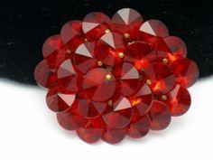 Gorgeous Red Hot Red Rivoli Reversed Set Vintage Rhinestone Brooch Pin   eBay
