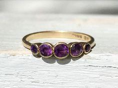 Edwardian Antique Amethyst 9Kt Gold Ring British Hallmarks Size 8 by AdornedInHistory on Etsy