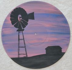 Windmill Painted Record See more at: www.etsy.com/shop/AcrylicAndVinyl