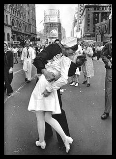 Taken August 14, 1945 in New York City's Times Square moments after the crowd there heard World War II had ended taken by Alfred Eisenstaedt (one of my favorite pictures)