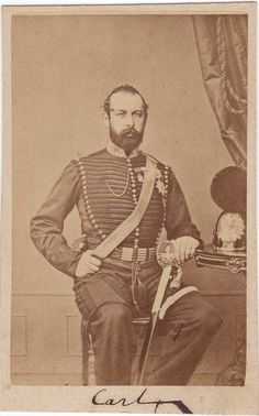 Charles XV (1826-1872) was King of Sweden and Norway.  A dynastic marriage was arranged between Crown Prince Charles and Princess Louise of the Netherlands.  The young couple had a suitable royal wedding but produced only two offspring, a son who died very young and Princess Louise, later queen of Denmark.