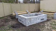 Cinder block fire pit with benches.  Like the size of this one.
