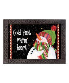 Look what I found on #zulily! Black Snowman 'Cold Feet Warm Heart' Doormat #zulilyfinds