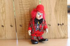 Clown Doll Porcelain Face and Stuffed Body Red Outfit, Red  Hair, Home Decor by Grandchildattic on Etsy