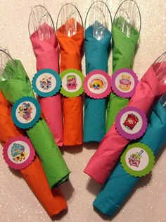 Shopkins Party Utensils cutlery plasticware set of 8