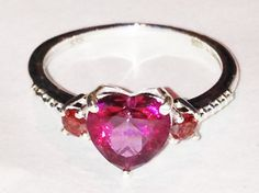 Mystic Topaz & Garnet Ring Heart Shaped Ring by NorthCoastCottage Jewelry Desing & Vintage Treasures on Etsy.com, $179.00