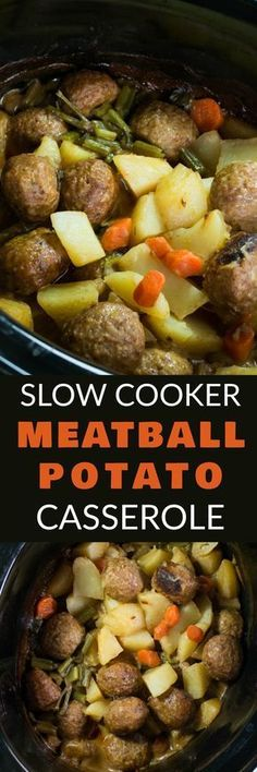 SLOW COOKER Meatball Potato Casserole with a creamy beef gravy is delicious! This easy to make crockpot recipe is perfect for busy weeknights! This Italian Meatballs dish uses cream of mushroom soup and is filled with vegetables including potatoes, carrots, celery and onion! My husband officially declares this one of his favorite meals!