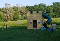 Castle play-set with a swing-set attachment Backyard Playhouse, Build A Playhouse, Cedar Playhouse, Playground Design, Indoor Playground, Playground Ideas, Playroom Design, Kids Room Design, Kid Playroom