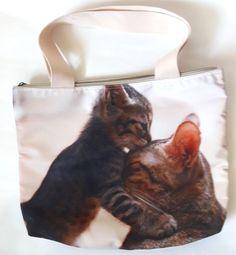 Cat kitten kiss hug kitty pet funny shoulder handbag shopping tote zip handmade #Handmade #ShoulderBag
