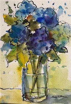 """Daily Paintworks - """"Blue Hydrangeas"""" - Original Fine Art for Sale - © Nancy F. Watercolor Pictures, Pen And Watercolor, Watercolor Artists, Watercolor Flowers, Watercolor Paintings For Sale, Abstract Paintings, Oil Paintings, Landscape Paintings, Bouquet Bleu"""
