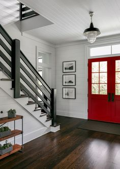Home Interior Grey Modern Farmhouse-Upstate On the Drawing BoardYou can find Modern interiors and more on our website.Home Interior Grey Modern Farmhouse-Upstate. Modern Entryway, Entryway Decor, Entryway Ideas, Door Ideas, Farmhouse Chic, Country Farmhouse, Farmhouse Stairs, American Farmhouse, Loft Spaces