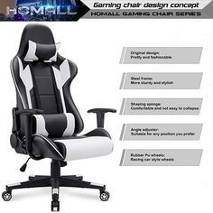 Homall Gaming Chair Office Chair High Back Computer Chair PU Leather Desk Chair PC Racing Executive Ergonomic Adjustable Swivel Task Chair with Headrest and Lumbar Support (White) Gaming Computer Desk, Gaming Chair, Xbox, Desk Styling, Montage Photo, Metal Stars, Chair Backs, Diy Chair, Pu Leather