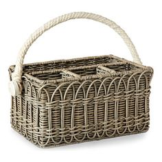 Wicker Utensil Caddy - A handle of soft cotton rope adds textural charm to the Wicker Utensil Caddy, a rectangular divided basket designed for use at elegant picnics and al fresco entertaining. A looping design woven into the walls of the charming wicker basket fades attractively into the wash of French grey which finishes this basket's neutral color and country-manor look.