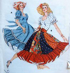 square dance dresses | Details about Kwik Sew SQUARE DANCE DRESS SKIRT PETTIPANTS Patterns ...