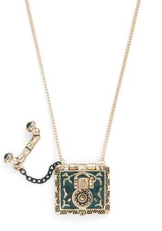 That's All She Rotary Necklace - Gold, Green, Quirky, 50s Locket. A unique design AND a locket.