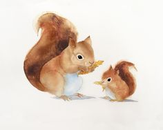 Nursery Wall Art, Cute Squirrels, Watercolor Squirrel, mom and baby squirrel, Squirrel Illustration, Childrens Room Art see at www.SweetPeaAndGummyBear.Etsy.com