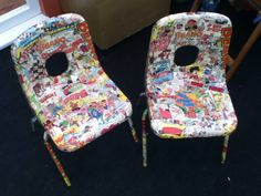 I somehow gained some small i suppose school chairs or something like that at a car boot really cheaply and covered them with Dennis the Menace etc and they sold really well as to be expected ;) haha  #KidsChairs #DIY #HomeDecor