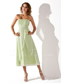 Empire Strapless Tea-Length Chiffon Bridesmaid Dress With Ruffle in sage (007001923) - DressFirst $103 - Looks special enough for bridal party but relaxed for resort, beachy feel , lots of color choices, FREE SHIP