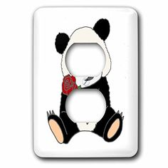 All Smiles Art Animals - Funny Cute Panda Bear Holding Red Rose - Light Switch Covers - 2 plug outlet cover (lsp_245426_6)  US $15.95 & FREE Shipping  #bigboxpower