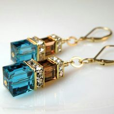 Teal and Chocolate Earrings, Teal Blue and Brown Jewelry Gold Filled Swarovski Cube Dangle Custom Bridesmaid Handmade Jewelry Autumn Wedding is part of Handmade jewelry Wedding - www fineheart etsy com © Fine Heart 2018 Fall Jewelry, Wire Jewelry, Jewelry Crafts, Beaded Jewelry, Jewelry Accessories, Handmade Jewelry, Diy Jewellery, Jewlery, Homemade Jewellery