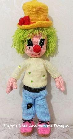 CUTE MR.CLOWN-Amigurumi Crochet Pattern por HappyKidsAmigurumi Crochet Amigurumi, Crochet Doll Pattern, Easy Crochet Patterns, Amigurumi Patterns, Amigurumi Doll, Crochet Dolls, Doll Patterns, Crochet Hats, Clown Mignon