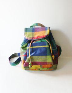 Vintage SCHOOL DAYS Vibrant Plaid Mini Backpack
