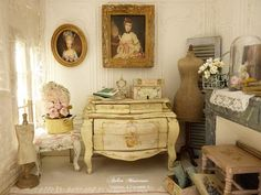 Miniatuur borst graf Lodewijk XV Shabby gele door AtelierMiniature