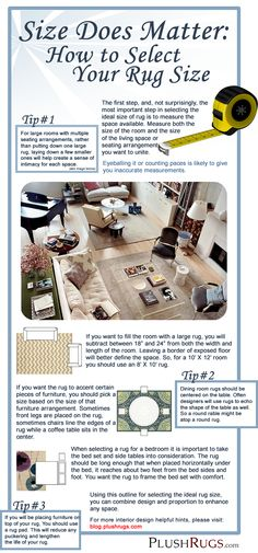 3 simple steps to pick the perfect rug: what size is right? (Info graphic courtesy of PlushRugs.com)